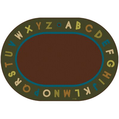Emilion Brown / Green Alphabet Nature Area Rug Rug Size: Oval 83 x 118