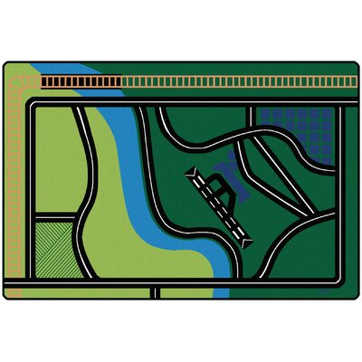 Transportation Fun Green Area Rug Rug Size: 6' x 9'