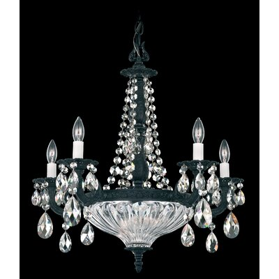 Milano 7-Light Candle-Style Chandelier Finish: Antique Silver, Crystal Color: Strass Silver Shade