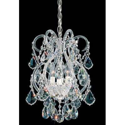 Olde World 4-Light Crystal Chandelier Crystal Grade: Swarovski Elements, Finish: Silver