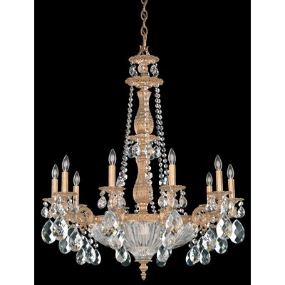 Milano 14-Light Candle-Style Chandelier Base Finish: Midnight Gild, Shade Color: Strass Golden Teak
