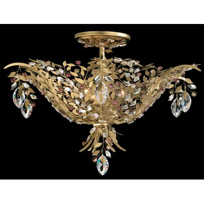 Amytis 3-Light Semi Flush Mount Crystal Type: Swarovski Elements Ray, Finish: Antique Silver