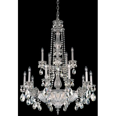 Milano 19-Light Candle-Style Chandelier Finish: Antique Silver, Crystal Color: Strass Clear