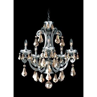 Cadence 5-Light Candle-Style Chandelier Color: Silver, Crystal Color: Strass Golden Shadow