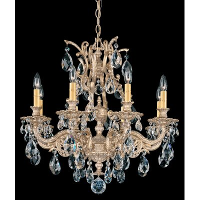 Sophia 8-Light Crystal Chandelier Crystal Type: Optic Handcut Clear, Finish: Parchment Gold
