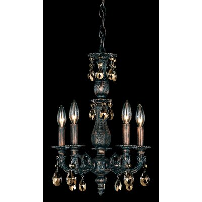 Milano 5-Light Candle-Style Chandelier Base Finish: Antique Silver, Shade Color: Strass Clear