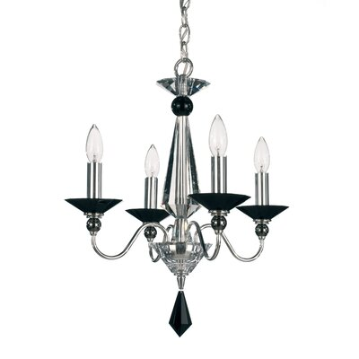 Jasmine 4-Light Candle-Style Chandelier Color: Silver, Crystal Color: Optic Clear