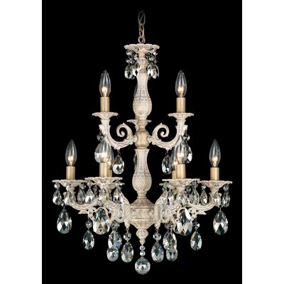 Milano 9-Light Candle-Style Chandelier Finish: Antique Silver, Crystal Color: Optic Clear