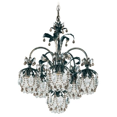 Rondelle 6-Light Crystal Chandelier Finish / Crystal Color: Antique Silver / Soft Jewel