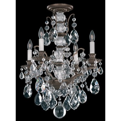 Bordeaux 4-Light Crystal Chandelier Finish: Textured Bronze, Crystal Color: Legacy Clear