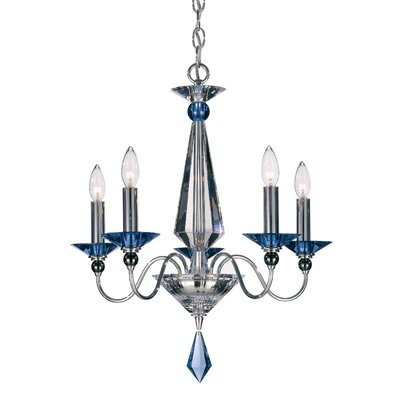 Jasmine 5 Light Candle-Style Chandelier Color: Silver, Crystal Color: Optic Clear