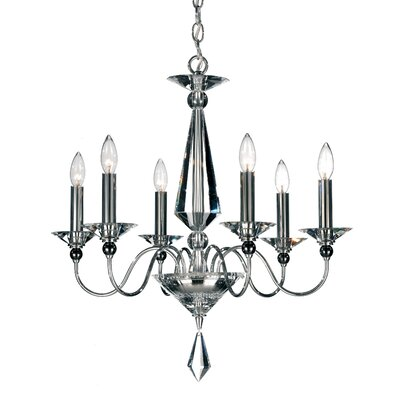 Jasmine 6-Light Candle-Style Chandelier Color / Crystal Color: Silver / Optic Clear