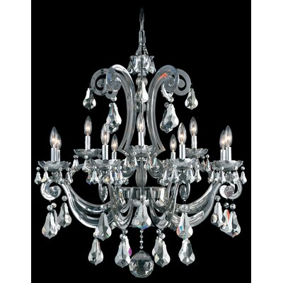 Cadence 12-Light Candle-Style Chandelier Color: Silver, Crystal Color: Strass Silver Shade