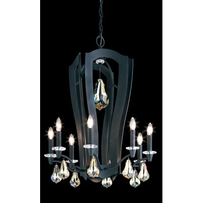 Linterna 10-Light Candle-Style Chandelier Crystal Type: Swarovski Elements Golden Shadow, Finish: Antique Silver
