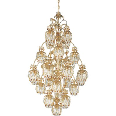 Rondelle 25-Light Crystal Chandelier Finish / Crystal Color: Antique Silver / Soft Jewel