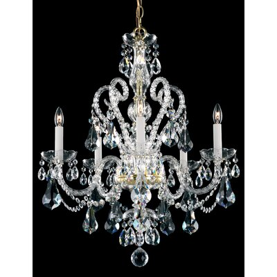 Novielle 5-Light Crystal Chandelier Crystal Type: Swarovski Elements Clear, Finish: Polished Silver