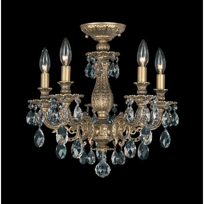 Milano 5-Light Candle-Style Chandelier Finish: Antique Silver, Crystal Grade: Strass Golden Teak