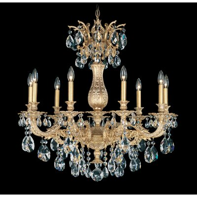 Milano  9-Light Crystal Chandelier Base Finish: Florentine Bronze, Shade Color: Strass Silver Shade