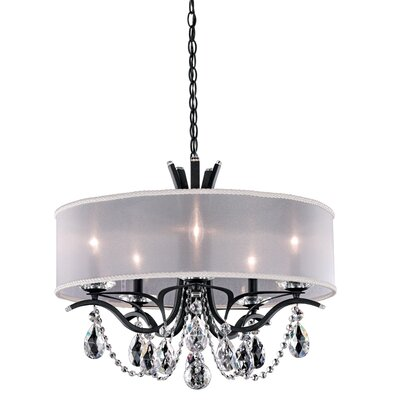 Vesca 5-Light Drum Chandelier Crystal: Swarovski, Finish: Ferro Black