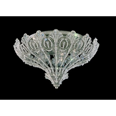 Rivendell 9-Light Flush Mount Finish: Antique Silver, Crystal Grade: Strass Clear