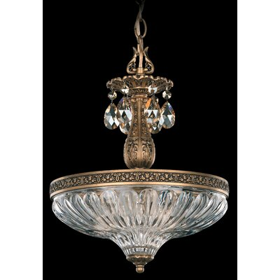 Milano 3-Light Inverted Pendant Crystal Type: Swarovski Elements Silver Shade, Finish: Antique Silver