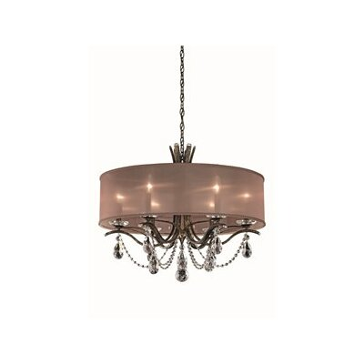 Vesca 6-Light Drum Chandelier Crystal: Swarovski, Finish: Etruscan Gold