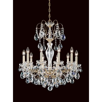 Sonatina 10-Light Crystal Chandelier Crystal Type: Heritage Handcut Clear, Finish: Antique Silver