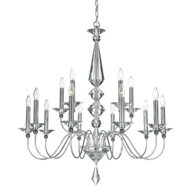 Jasmine 15-Light Candle-Style Chandelier Color: Silver, Crystal Color: Optic Clear