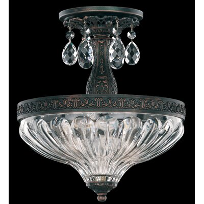 Milano 2-Light Semi Flush Mount Finish: Antique Silver, Crystal Grade: Strass Silver Shade