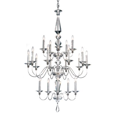 Jasmine 20-Light Candle-Style Chandelier Color: Silver, Crystal Color: Optic Clear