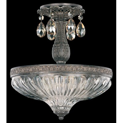 Milano 3-Light Semi Flush Mount Base Finish: Midnight Gild, Shade Color: Strass Golden Shadow