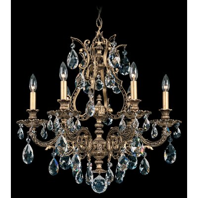 Sophia 6-Light Crystal Chandelier Crystal Type: Optic Handcut Clear, Finish: Florentine Bronze