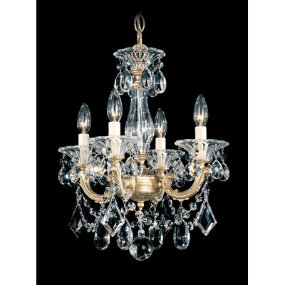 La Scala 4-Light Mini Chandelier Finish / Crystal Color: Etruscan Gold / Handcut Clear