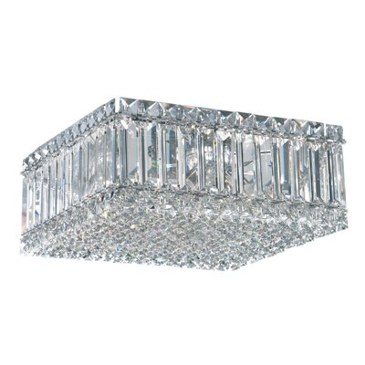 Quantum 4-Light Flush Mount Size: 6 H x 10 W x 10 D, Crystal Type: Swarovski Elements Clear