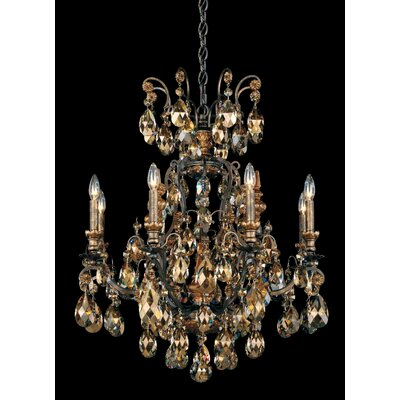 Renaissance 8-Light Candle-Style Chandelier Finish / Crystal Color: Antique Silver / Strass Golden Teak