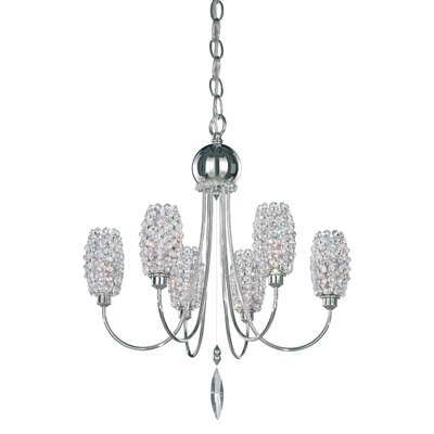 Dionyx 6-Light Candle-Style Chandelier Crystal Grade: Swarovski Elements Golden Teak