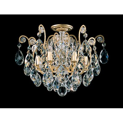 Renaissance 6-Light Semi Flush Mount Finish: French Gold, Crystal Type: Strass Golden Teak