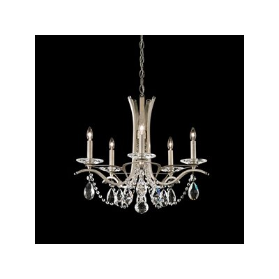 Vesca 5-Light Crystal Chandelier Crystal Type: Swarovski Elements Clear, Finish: Antique Silver