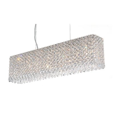 Refrax 7-Light Kitchen Island Pendant Crystal Type: Swarovski Elements Golden Teak