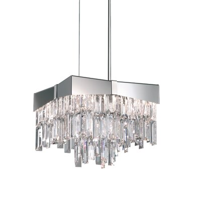Riviera 4-Light Crystal Pendant Finish: Stainless Steel, Crystal Grade: Spectra