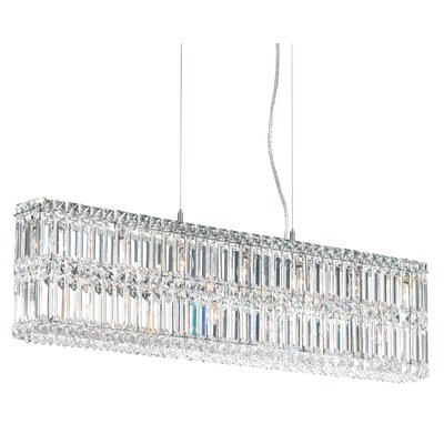 Quantum 17-Light LED Kitchen Island Pendant Width / Crystal Color: 35.5 / Strass Clear