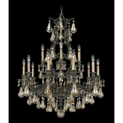 Sophia 15-Light Candle-Style Chandelier Finish: Florentine Bronze, Crystal Color: Strass Golden Shadow