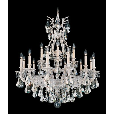 Sophia 18-Light Candle-Style Chandelier Finish: Antique Silver, Crystal Color: Strass Silver Shade
