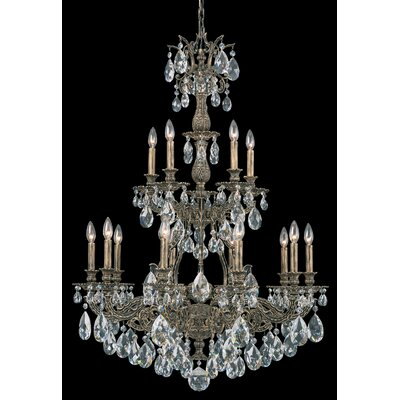 Sophia 15-Light Candle-Style Chandelier Finish: Heirloom Bronze, Crystal Type: Heritage Handcut Golden Shade