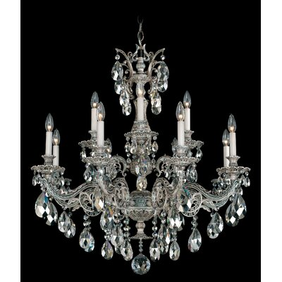 Milano 12-Light Crystal Chandelier Base Finish: Antique Silver, Shade Color: Strass Golden Shadow