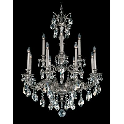 Milano 12-Light Candle-Style Chandelier Base Finish: Antique Silver, Shade Color: Strass Golden Shadow