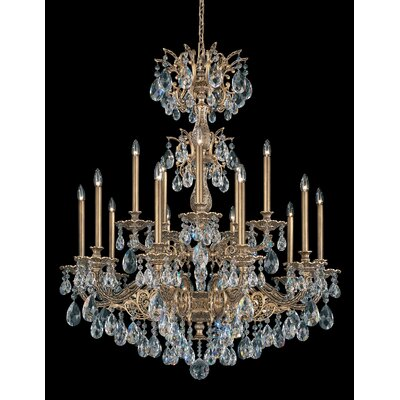 Milano 15-Light Candle-Style Chandelier Finish: Antique Silver, Crystal Color: Strass Golden Teak
