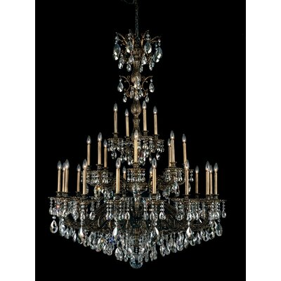 Milano 28-Light Candle-Style Chandelier Finish: Antique Silver, Crystal Color: Strass Golden Shadow