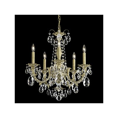 Alea 5-Light Candle-Style Chandelier Finish: Parchment Gold, Crystal Type: Heritage Clear