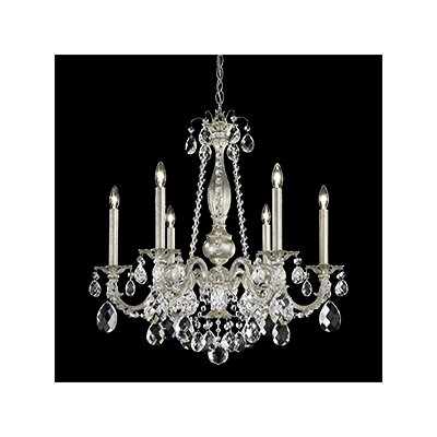 Alea 6-Light Crystal Chandelier Crystal Type: Heritage Clear, Finish: Parchment Gold